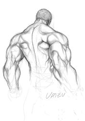 1boy back character_name from_behind graphite_(medium) greyscale highres monochrome muscle shirtless short_hair sketch solo street_fighter street_fighter_iii traditional_media urien yoshihara_motoki