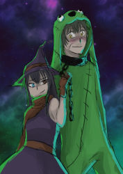 1boy 1girl absurdres androth_(character) animal_costume bare_shoulders black_hair blue_eyes blush brown_eyes chained chains dog dog_costume dress fanom fanom_(character) femdom green_hair halloween hat highres looking_at_another neckerchief night original scar sketch sky smile smirk star star_(sky) witch witch_hat yellow_eyes