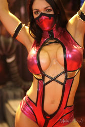 black_hair cosplay half_mask long_hair mask mileena mortal_kombat photo