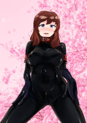 1girl artist_request blue_eyes blush bodysuit brown_hair collar gloves latex latex_gloves latex_suit shiny shiny_clothes simple_background skin_tight zipper