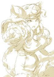 >:o 1girl :o animal_hat bell bouncing_breasts breasts buttons clenched_hands daetta_(granblue_fantasy) deer elbow_gloves fur_trim gloves granblue_fantasy hat horns large_breasts long_hair pointy_ears shimotsuki_eight simple_background solo unitard white_background yellow