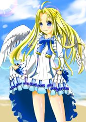 1girl ahoge beach blonde_hair blue_eyes blush dress firo_(tate_no_yuusha_no_nariagari) frills hair_ornament long_hair ribbon sea sky sun tate_no_yuusha_no_nariagari wide_sleeves wings