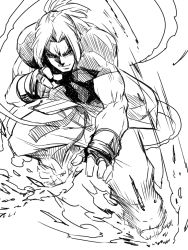 1boy clothes_around_waist dougi fingerless_gloves gloves jin_(mugenjin) ken_masters looking_at_viewer monochrome muscle open_clothes ponytail short_sleeves street_fighter street_fighter_v