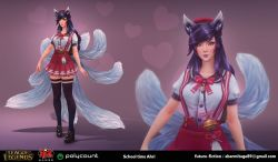 3d adapted_uniform ahri animal_ears bell blair_armitage email_address highres jingle_bell league_of_legends multiple_tails purple_hair school_uniform skirt suspender_skirt suspenders tail thighhighs yellow_eyes