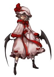 1girl adapted_costume bat_wings boots bow capelet full_body gloves hat hat_ribbon highres long_sleeves looking_to_the_side mob_cap no-kan red_eyes remilia_scarlet ribbon sash shirt short_hair silver_hair simple_background skirt skirt_set solo touhou white_background wings winter_clothes