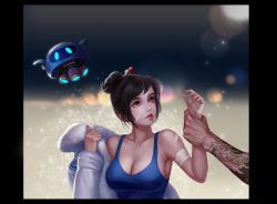 1boy 1girl arm_grab bandaged_arm bandaid bandaid_on_face black_border black_hair blue_background blue_shirt blurry bokeh border breasts brown_eyes cleavage coat collarbone depth_of_field dragon_tattoo floating fur_trim gradient gradient_background grey_background hair_bun hair_ornament hair_stick hanzo_(overwatch) highres large_breasts lips lipstick looking_at_another looking_to_the_side makeup mei_(overwatch) nose out_of_frame overwatch parted_lips realistic red_lipstick robot sanmeosore_ryuuebi shirt short_hair snow snowball_(overwatch) tank_top undressing upper_body