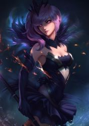 1girl arm_behind_back bare_shoulders breasts cleavage detached_collar dress elbow_gloves elementalist_lux embers gloves glowing glowing_eyes grin highres lavender_hair league_of_legends lipstick luxanna_crownguard makeup md5_mismatch pleated_skirt purple_eyes raikoart resized side_ponytail skirt smile solo staff tiara