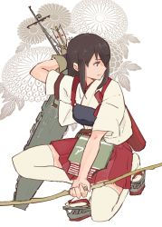 akagi_(kantai_collection) bow_(weapon) brown_eyes brown_hair gloves japanese_clothes kantai_collection long_hair muneate weapon yanami