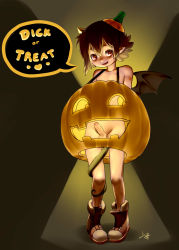 1boy artist_request bat_wings blush boots brown_hair english erection halloween jack-o'-lantern looking_at_viewer male penis pumpkin short_hair shota solo tail uncensored wings