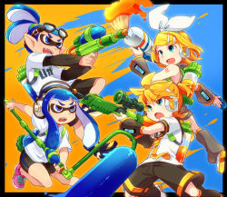 2boys 2girls :d :o arm_warmers battle bike_shorts blonde_hair blue_eyes blue_hair border brother_and_sister crossover fangs goggles goggles_on_head gun hair_ornament hairband hairclip headphones inkling kagamine_len kagamine_rin leg_warmers long_sleeves multiple_boys multiple_girls necktie open_mouth paint paint_roller paintbrush pointy_ears ponytail reki_(arequa) ribbon rifle shorts siblings sleeveless smile sniper_rifle splatoon super_soaker tattoo tentacle_hair tied_hair twins vocaloid weapon white_ribbon