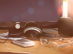 absurdres bose cellphone desk glasses headphones highres liu_guniang monitor no_humans phone power_symbol sketch smartphone speaker still_life wire