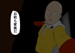 1boy bald cape clenched_hand dark gloves long_sleeves looking_at_viewer one-punch_man pov resident_evil resident_evil_7 saitama_(one-punch_man) smile welcome_to_the_family_son yashiro_(pixiv7800421) zipper