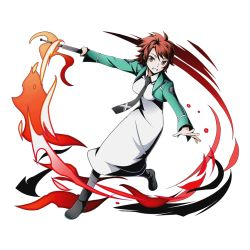 1girl black_necktie brown_eyes chiba_erika divine_gate dress fire full_body green_jacket grin holding jacket looking_at_viewer mahouka_koukou_no_rettousei necktie official_art red_hair shadow short_hair smile solo spiked_hair transparent_background ucmm white_dress