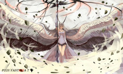 1girl angel_wings barefoot commentary dragon dragon_horns dress gauntlets highres horns leg_ribbon long_hair multiple_wings original personification pixiv_fantasia pixiv_fantasia_t pointy_ears polearm silver_hair sishenfan solo very_long_hair weapon white_dress wind wings yellow_eyes