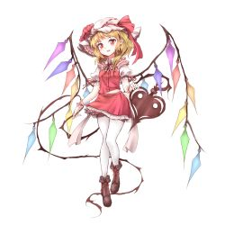 1girl blonde_hair blush boots cross-laced_footwear crystal flandre_scarlet full_body hat hat_ribbon highres lace-up_boots laevatein looking_at_viewer minust mob_cap open_mouth pointy_ears puffy_sleeves red_eyes ribbon shirt short_hair short_sleeves side_ponytail simple_background skirt skirt_set smile solo thighhighs touhou vest white_background white_legwear wings wrist_cuffs