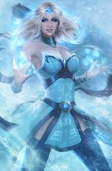 1girl armpits bare_shoulders belt blonde_hair blue_eyes breasts cleavage collar defense_of_the_ancients dota_2 earrings gem grin highres ice jewelry long_hair magic raikoart rylai_crestfall smile snow solo thighhighs tiara