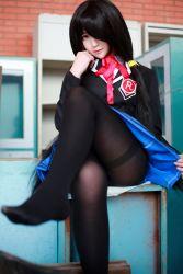1girl black_hair black_legwear cosplay date_a_live feet legs_crossed pantyhose photo red_eyes school_uniform skirt thighband_pantyhose tokisaki_kurumi twintails