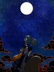 1boy artist_name full_moon gradient_background l_hakase looking_up male_focus moon night night_sky sayo_samonji sky solo star_(sky) starry_sky touken_ranbu twitter_username