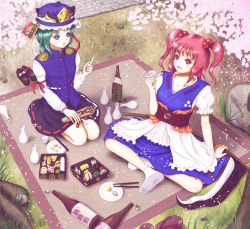 2girls armband blanket blue_eyes bottle cherry_blossoms choko_(cup) chopsticks epaulettes facing_away grass green_hair hair_bobbles hair_ornament hat hat_ribbon index_finger_raised indian_style kurage_(artist) layered_dress long_sleeves looking_at_another looking_up multiple_girls obentou omelet onozuka_komachi petals picnic plate puffy_short_sleeves puffy_sleeves red_eyes red_hair ribbon rock rod_of_remorse sandals_removed scythe seiza shiki_eiki shoes_removed short_hair short_sleeves sitting skirt skirt_set sweatdrop tabi tamagoyaki tokkuri touhou tree tree_branch twintails