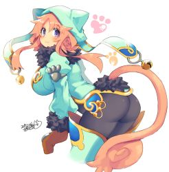 1girl :3 animal_ears animal_hat ass bell breasts cat_ears cat_hat cat_tail hat iroyopon large_breasts looking_back original pink_hair tail