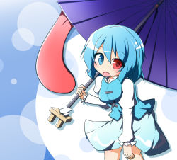 1girl blue_eyes blue_hair heterochromia karakasa_obake matching_hair/eyes open_mouth red_eyes senba_chidori short_hair skirt solo tatara_kogasa tongue touhou umbrella