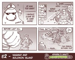 2girls 4koma :p admiral_(kantai_collection) battleship-symbiotic_hime battleship_hime comic defense_of_the_ancients dota_2 edowin edwin_(cyberdark_impacts) english gameplay_mechanics gauge gradient gradient_background hat hibiki_(kantai_collection) highres kaga_(kantai_collection) kantai_collection left-to-right_manga light_cruiser_oni monochrome multiple_girls murakumo_(kantai_collection) ooi_(kantai_collection) profanity sharp_teeth sparkle sunglasses teeth tidehunter tongue tongue_out verniy_(kantai_collection) yukikaze_(kantai_collection)