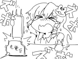 >_< 1girl cellphone collar eyes_closed female frog hair_tubes kochiya_sanae long_hair monochrome open_mouth phone shinapuu sketch snake solo tantrum touhou upper_body white_background