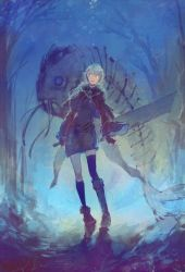 1girl animal asymmetrical_legwear backlighting blue_background blue_ribbon boots buster_sword catfish fabri fingerless_gloves fish fish_skeleton forest gloves glowing glowing_eyes grey_hair holding holding_sword holding_weapon huge_weapon long_hair looking_at_viewer nature oversized_animal pixiv_fantasia pixiv_fantasia_fallen_kings ribbon sicks sword thighhighs tilting translucent weapon whiskers