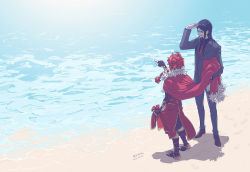 2boys alexander_(fate/grand_order) beach black_hair braid cape fate/grand_order fate/stay_night fate/zero fate_(series) fingerless_gloves formal glasses gloves long_hair lord_el-melloi_ii multiple_boys necktie ocean older red_hair sandals suit waver_velvet