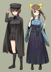 2girls adjusting_clothes adjusting_hat alternate_costume alternate_hairstyle bangs black_cape black_hat black_legwear black_shoes black_skirt blue_shirt blue_skirt boots bow brown_boots brown_eyes brown_hair cape closed_mouth cross-laced_footwear full_body girls_und_panzer grey_background hair_bow hair_up hat hikyakuashibi japanese_clothes kneehighs loafers long_hair long_skirt looking_at_viewer mika_(girls_und_panzer) military military_hat military_uniform miniskirt multiple_girls nishizumi_maho one_eye_closed pleated_skirt shirt shoes short_hair simple_background skirt smile standing uniform yellow_bow