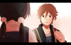 1boy 1girl black_hair brown_eyes brown_hair kitashirakawa_tamako lilya long_hair low_twintails ooji_mochizou phone school_uniform short_hair spoilers string_phone tamako_love_story tamako_market twintails