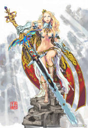 1girl armor bad_anatomy blonde_hair breasts cleavage cloud code_of_princess crown flower gauntlets hair_flower hair_ornament huge_weapon light_rays long_hair navel nishimura_kinu official_art pillar princess sandals solange_blanchefleur_de_luxe solo sunbeam sunlight sword toned watermark weapon wide_hips