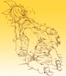 1girl aftersex blood china_(ekimore) cum cum_in_pussy cum_pool cumdrip gradient gradient_background hair_ornament kagamine_rin monochrome panties panties_around_leg short_hair top-down_bottom-up underwear virgin vocaloid