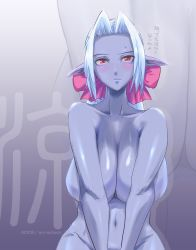1girl aurastack blue_skin blush breasts cleavage dark_elf elf huge_breasts lineage lineage_2 navel nude pointy_ears red_eyes ribbon sagging_breasts silver_hair solo