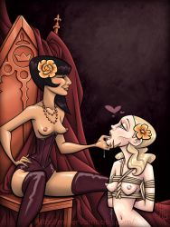 2girls bdsm chin_grab corset dominatrix femdom finger_in_mouth finger_licking minerva_mopsy multiple_girls ropes shibari throne tied_up yuri