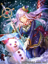 1girl boots character_request company_name cross dragon_tactics dutch_angle gloves ichinose777 long_hair official_art open_mouth scarf snow snowman staff thighhighs white_gloves yellow_eyes
