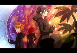1girl 2boys axel banana_gyuunyuu black_hair blonde_hair blue_eyes cloak gloves kingdom_hearts kingdom_hearts_358/2_days multiple_boys palm_tree red_hair roxas seashell shell short_hair tree xion_(kingdom_hearts)