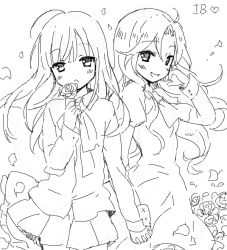 2girls blush chiyingzai drawr flower hand_holding holding holding_flower ib ib_(ib) long_hair looking_at_viewer mary_(ib) monochrome multiple_girls oekaki open_mouth petals pose rose smile wind