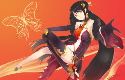 ara_han black_hair elsword gloves orange_eyes short_dress tagme