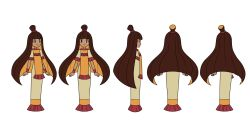 1girl black_eyes blonde_hair blush_stickers brown_hair character_sheet dark_skin dress highres indivisible long_hair multicolored_hair multiple_views nuna_(indivisible) official_art resized smile topknot turnaround two-tone_hair