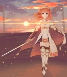 1girl artist_logo artist_name cape celica_(fire_emblem) cloud cloudy_sky dress earrings fire_emblem fire_emblem_echoes:_mou_hitori_no_eiyuuou gloves headband highres jewelry long_hair red_eyes red_hair skirt sky smile solo sparkle_background strapless strapless_dress sun sunset sword tcong weapon white_dress