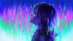 1girl black_hair blue_eyes cloak gloves gradient gradient_background highres kingdom_hearts kingdom_hearts_358/2_days lips looking_away nose short_hair solo xion_(kingdom_hearts)