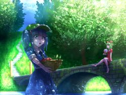 2girls :o bare_legs barefoot basket blue_eyes blue_hair blue_sky bow bridge cabbie_hat carrying cloud cloudy_sky cucumber dress fan food frills front_ponytail fruit green_eyes green_hair hair_bobbles hair_bow hair_ornament hair_ribbon hat kagiyama_hina kawashiro_nitori light_rays long_hair multiple_girls nature norishiru open_mouth paper_fan partially_submerged plant pocket red_dress reflection ribbon rock scenery short_hair short_sleeves short_twintails sitting sitting_on_rock skirt skirt_set sky sleeves_rolled_up smile stairs stone_stairs sunlight tomato touhou tree tree_shade twintails water wrist_ribbon