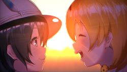 2girls ^_^ ^o^ black_eyes black_hair blonde_hair blush bow bowtie closed_mouth commentary_request eyes_closed face happy hat hat_feather kaban kemono_friends looking_at_another multiple_girls open_mouth outdoors serval_(kemono_friends) serval_print shiny shiny_hair short_hair smile sunlight sunset teeth yasuda_takashi