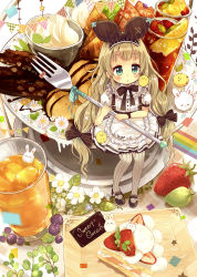 1girl absurdres apron bangs bird black_ribbon black_shoes blonde_hair bow branch bunny cake checkered chick chocolate cocktail cocktail_glass collar cup drinking_glass eyebrows_visible_through_hair food fork frilled_apron frilled_collar frills fruit grapes green_eyes hair_ribbon hairband highres holding holding_fork ice iced_tea lace lace-trimmed_skirt long_hair mary_janes minigirl niikura_kaori original pennant pigeon-toed pink_bow plate puffy_short_sleeves puffy_sleeves ribbon shoes short_sleeves sitting skirt solo strawberry striped striped_ribbon suspenders sweets very_long_hair whipped_cream white_flower wristband