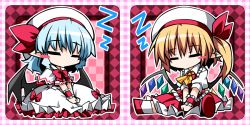2girls ascot bat_wings blonde_hair blue_hair blush_stickers bow chibi dress eyes_closed flandre_scarlet hat hat_ribbon hemogurobin_a1c mob_cap multiple_girls pointy_ears puffy_short_sleeves puffy_sleeves red_dress remilia_scarlet ribbon short_sleeves siblings side_ponytail sisters sitting sleeping touhou v_arms white_dress wings wrist_cuffs