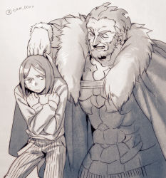 2boys beard bob_cut book book_hug cape facial_hair fate/zero fate_(series) greyscale holding holding_book monochrome multiple_boys one_eye_closed rider_(fate/zero) size_difference tam_(cuq) waver_velvet wink
