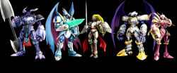 5boys armor bandai blue_armor claws craniamon digimon dragon dragon_wings duftmon dynasmon full_armor gauntlets green_eyes helmet horns knight lance long_coat lordknightmon male_focus monster multiple_boys muscle no_humans polearm red_eyes royal_knights shoulder_pads simple_background skull solo spikes sword ulforceveedramon weapon wings