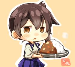 1girl artist_name blue_hakama brown_eyes brown_hair curry curry_rice food hakama highres japanese_clothes kaga_(kantai_collection) kantai_collection nontraditional_miko open_mouth orange_background rice short_hair side_ponytail simple_background solo taisa_(kari) tasuki