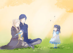 2boys 2girls baby blue_hair family father_and_daughter fire_emblem fire_emblem:_kakusei husband_and_wife koshi00x krom lucina mark_(fire_emblem) mother_and_son multiple_boys multiple_girls my_unit_(fire_emblem:_kakusei) silver_hair singing sitting tiara